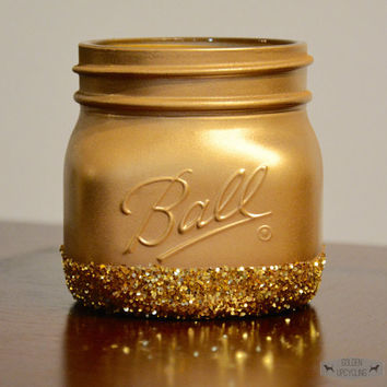 Gold Glitter Mason Jar Decor, Glitter Decor, Gold Decor, Gold Mason Jar, Bathroom Decor, Dorm Room Decor, Gold Glitter, Mason Jar Decor