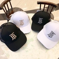 """""""Burberry"""" Unisex All-match Simple Letter Embroidery Baseball Cap Couple Casual Peaked Cap Sun Hat"""