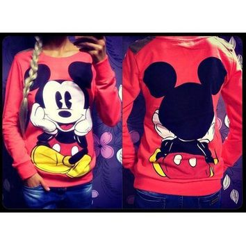 Mickey Mouse Print Hoody Female Long Sleeve Hoodies Women Pullovers Sweatshirts Mujer O-Neck Hoodies Lady's Sweatshirts S6865