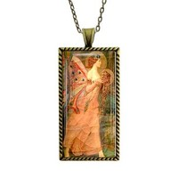Fortuna Necklace Fortuna Roman Goddess Luck Fortune Glass Tile Pendant
