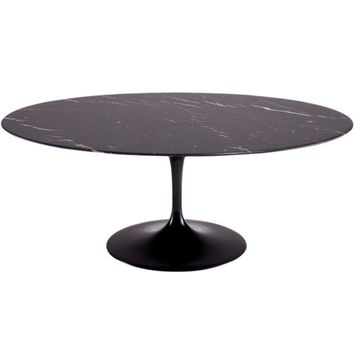 """Fine Mod Imports Flower Marble Table Oval 78"""", Black"""