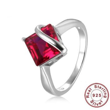 Sterling Silver 3.32 ct Square Ruby Ring