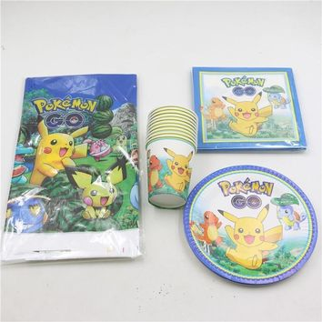 61pcs\lot Baby Shower Party Plates Cartoon Cups  Go Tablecloth Kids Favors Birthday Pikachu Napkins Decoration SuppliesKawaii Pokemon go  AT_89_9