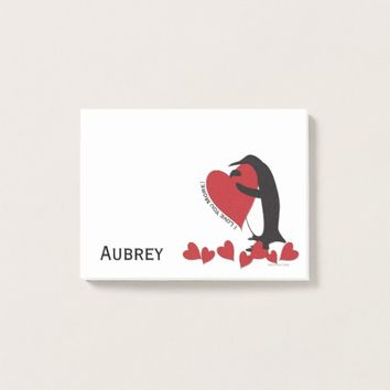 I Love You More! - Penguin Red Hearts Personalized Post-it Notes