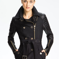Sam Edelman Mixed Media Trench Coat | Nordstrom