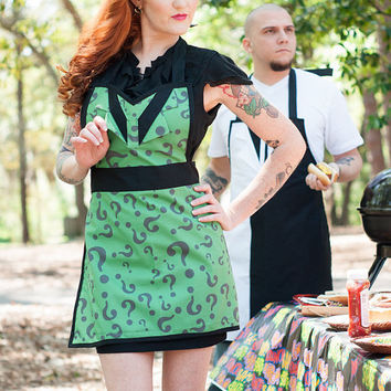 Batman Riddler inspired cosplay apron