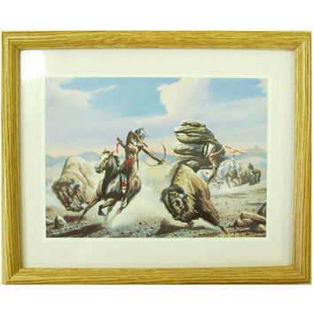 "Native American Indian Art Print - Framed 8"" x 10"" - Retro Wild West Decor"