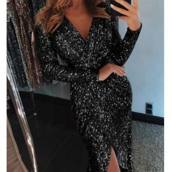 Women's Long Sleeve Sexy V Neck Sequins Dress Evening Ball Gown Split Wrap Dress