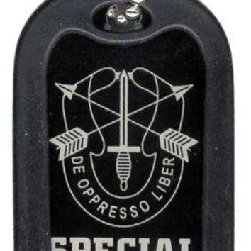 Dog Tag Key Chain Necklace Engrave-Able Special Forces De Oppresso Liber #2666