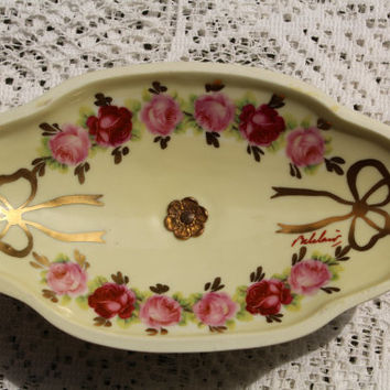 Vintage Antique Porcelain Soap Dish/Jewelry Bowl Roses And Accents Hand Painted In France