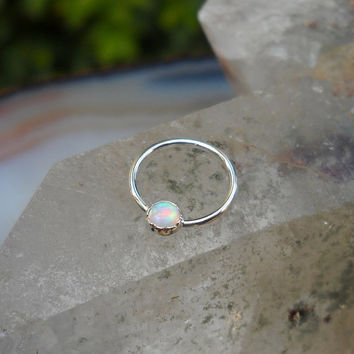Nipple Ring - Sterling Silver White Opal - Nipple Jewelry - Nipple Piercing - Septum Ring - Conch Piercing