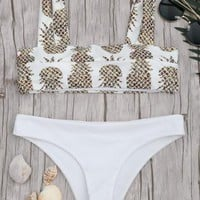 Sexy fashion vest style pineapples print two piece bikini swimsuit(4-Style)