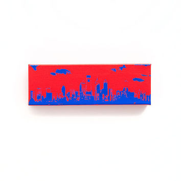 Philadelphia Skyline II Canvas (Red with Blue) Screenprint/Painting, Philadelphia Wall Art, Philadelphia Print, Urban Art Home Decor