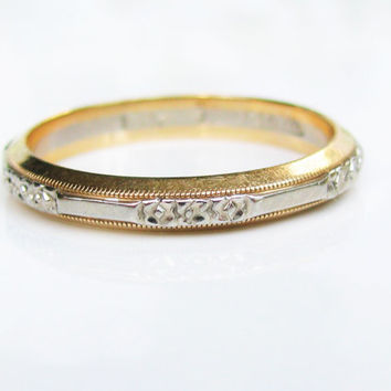 Vintage Keepsake Wedding Ring 14K Two Tone Gold Floral Design Ladies Wedding Band Gold Stacking Ring Size 7.25