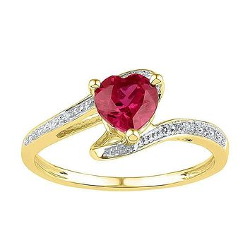 10kt Yellow Gold Women's Heart Lab-Created Ruby Solitaire Diamond-accent Ring 1.00 Cttw - FREE Shipping (US/CAN) - Size 9