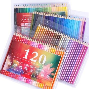 Professional wooden 120 Colored Pencils set Lapis De Cor school Artist Painting Oil Color Pencil For Drawing Sketch art Supplies