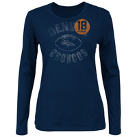 Peyton Manning Denver Broncos Ladies Endzone Classic Long Sleeve T-Shirt - Navy Blue