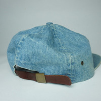Nordstrom Vintage 90s Denim Leather Strapback Hat