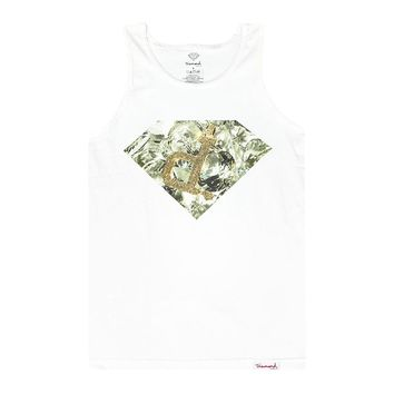 "Diamond Supply Co Diamond Bling Graphic Inverted Shiny ""P"" Men's White T-shirt"