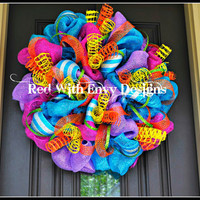 Summer Wreath Wreath Deco Mesh Wreath Deco Mesh Spring Wreath