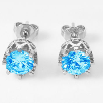Crown Crystal Zirconia Earrings - 4 color choices