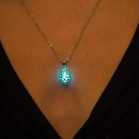 Aqua Glow Necklace - Glow in the Dark Necklace - Drop Necklace - Turquoise Necklace - Aqua Necklace - Silver Necklace