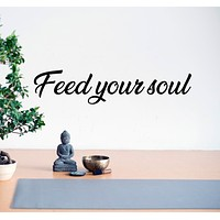 Vinyl Wall Decal Quote Words Find Your Soul Yoga Room Stickers Mural 28.5 in x 6 in gz120