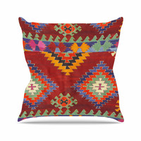 "S Seema Z ""TAPESTRY ETHNIC"" Red Pattern Outdoor Throw Pillow"