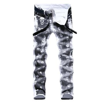 Men Stretch 💀 Skull Print Slim Fit Straight Jeans
