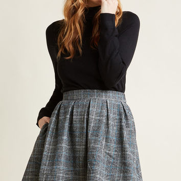 Plaid High-Waisted Mini Skirt with Pockets