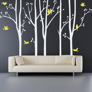 Tree Wall Decal - trees with birds wall decals, birch tree wall decals