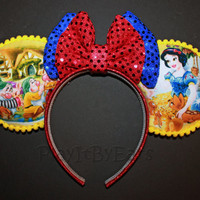 "Handmade ""Snow White & the 7 Dwarfs Scenes on Yellow"" Custom Mouse Ears inspired by Disney"