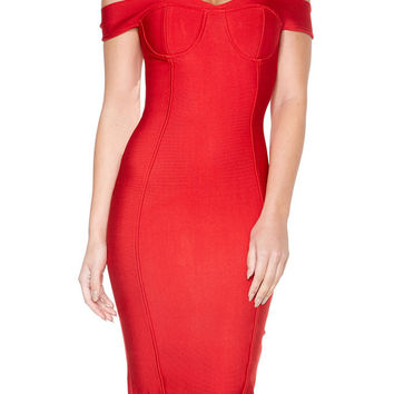 Off The Shoulder Midi Bandage Dress - Red