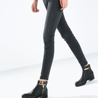 Leather bootie with ankle strap