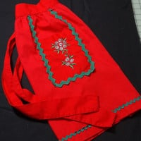 Vintage 1970s Red Christmas Apron with Silver Hand Embroidery & Green Rick-Rack, 1 Pocket