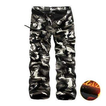 Clothing for Men Winter Thick Fashion Cotton Warm Mens Cargo Pants Casual Camouflage Pocket Overalls Camo Cargo Pants