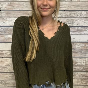 Chill Vibes Top- Olive
