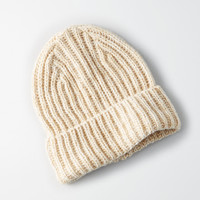 AEO Marled Ribbed Beanie, Oatmeal Heather