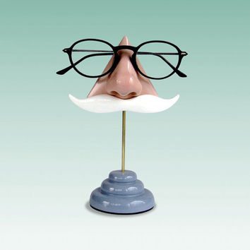 c8421b20c2f5 Nose Eyeglass Stand White Moustache by ArtAkimbo on Etsy
