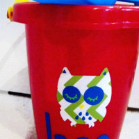 Sand Bucket you custom make for your child. You choose character, bucket color, font, and vinyl