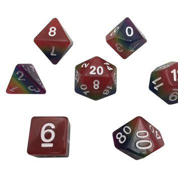 Solid Rainbow - Set of 7  Rainbow Colored Solid Polyhedral RPG Dice for Dungeons and Dragons