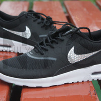 Nike Air Max Thea Black Wolf Grey White Swarovski Crystal Accent Blinged Out Custom Women