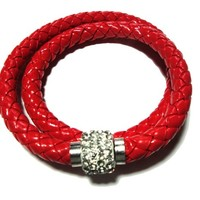 Red Leather double braided bracelet