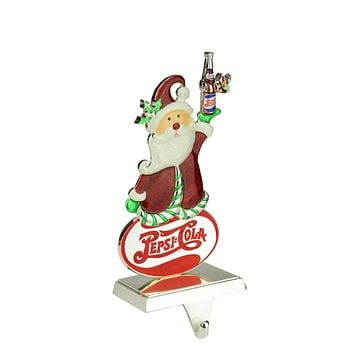 "9.75"" Silver Plated Pepsi-Cola Santa Claus Christmas Stocking Holder with European Crystals"