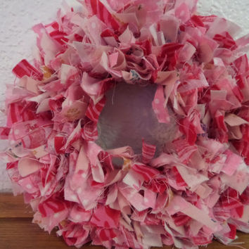 "6"" Breast Cancer Awareness  Mini Rag Wreath"
