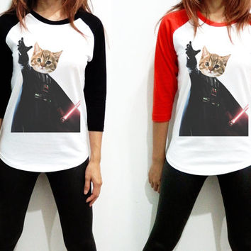 Unisex - Cat Vader Darth Vader Starwars Star wars Men Women Long Sleeve Baseball Shirt Tshirt Jersey