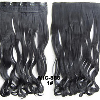 Bath & Beauty 5 Clip in synthetic hair extension hairpieces wavy slice curly hairpiece MIC-888 1#,Hair Care,fashion Cosplay ombre 1PC