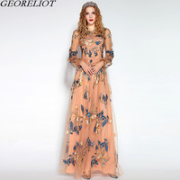 Brand Fashion Long Maxi Dress 2017 New Summer Women Vintage Flower Embroidery Mesh Runway Dress Evening Party Vestidos De Festa