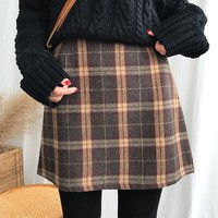 Retro Style Plaid Mini Skirt