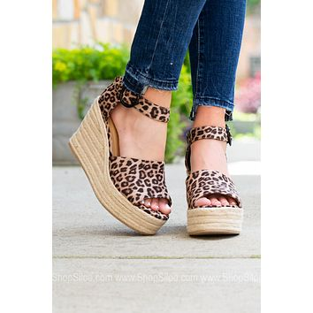Leopard One Strap Espadrilles Wedges